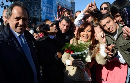 Daniel Scioli und Cristina Kirchner beim Festakt zum Tag der Fahne (20. Juni) in Rosario Foto: Casa Rosada